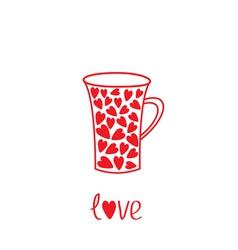 Love mug with hearts Love card vector