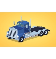 Low poly blue heavy truck vector