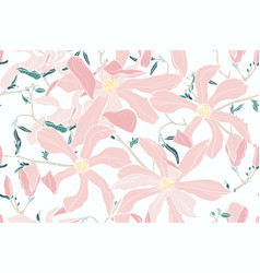 magnolia spring pink flowers vector image