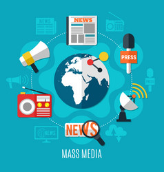 Mass media design concept vector