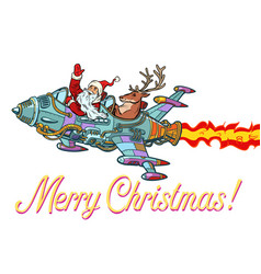 merry christmas retro santa claus with a deer vector image