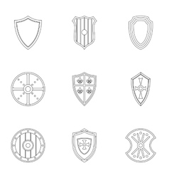 Military shield icons set outline style vector