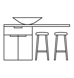 modern kitchen table icon outline style vector image