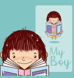 My boy cute cartoon card vector