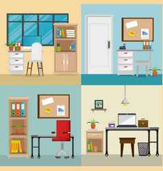 office workplaces set scenes icons vector image