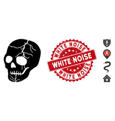 Old skull icon with textured white noise seal vector