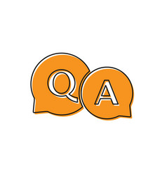 Orange speech bubbles with question and answer vector