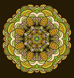 ornament hand drawn mandala colorful on dark vector image