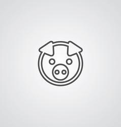 pig outline symbol dark on white background logo vector image