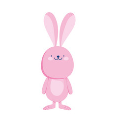 pink bunny animal cartoon isolated icon style vector image