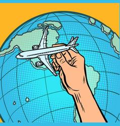 plane in hand metaphor flying to america vector image
