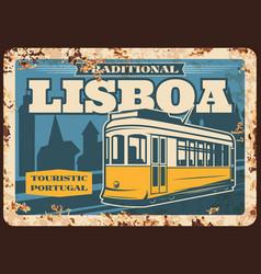 Portugal travel lisbon tram metal plate rusty vector