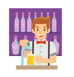professional male bartender making cocktails and vector image