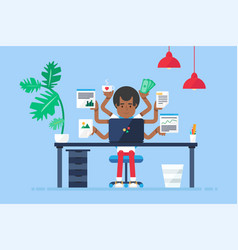 Professional workplace with afro-american vector
