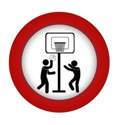 red circle with men playing basketball vector image