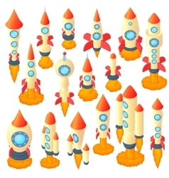 Rocket icons set cartoon style vector image