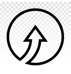 Rounded up arrow or directional up arrow line art vector