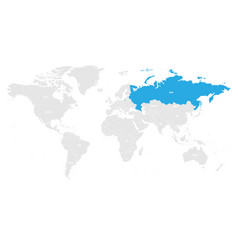 Russia marked blue in grey world political map vector