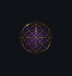 Sacred geometry gold symbol purple mandala logo vector