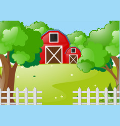 Scene with red barns in the farm vector