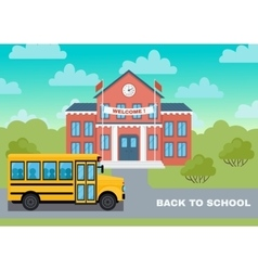 School building and yellow bus vector