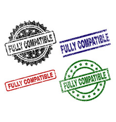 Scratched textured fully compatible seal stamps vector