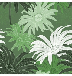 Seamless Green Daisy Background vector