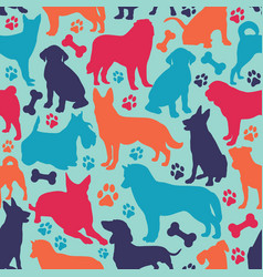 Seamless pattern with different dog breeds vector
