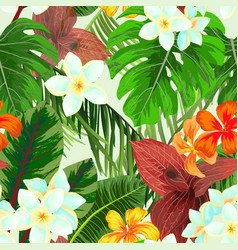 Seamless pattern with palm leaves and flowers vector