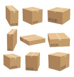 Set cardboard box mockups vector