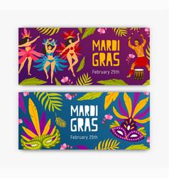 set festive web banner templates with dancers vector image
