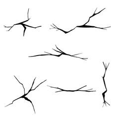 Set hand drawn cracks isolated on white vector