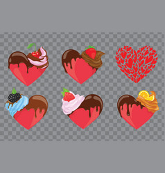 set hearts in form cupcakes collection vector image