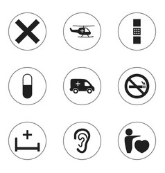 set of 9 editable health icons includes symbols vector image