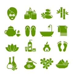 set of flat icons for spa vector image
