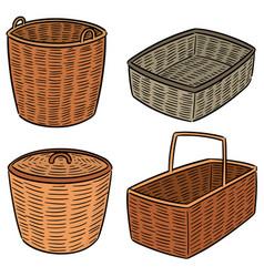 Set wicker basket vector