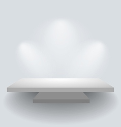 Shelf on white wall with spotlights vector image