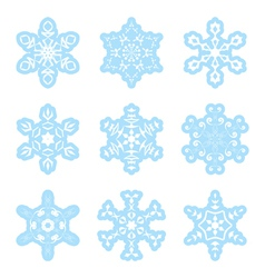 snowflakes - blue and white - set vector image