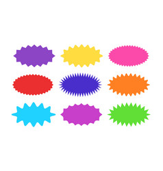 starburst sticker set - collection colorful vector image