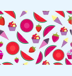 summer seamless pattern with fruits and ice cream vector image