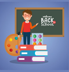 teacher male with school supplies vector image