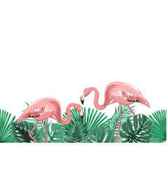 tropical green leaves pink flamingo footer element vector image