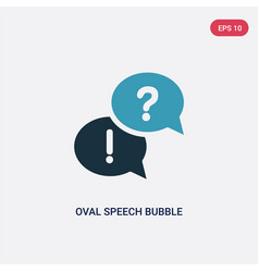 two color oval speech bubble icon from shapes vector image