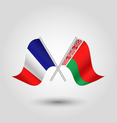 two crossed french and belarusian flags vector image vector image