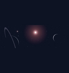 Universe stars and planets scene panoramic banner vector