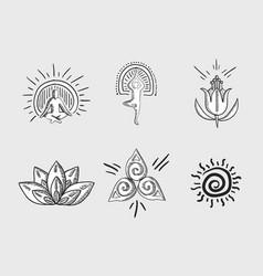 Variety zen elements symbols vector