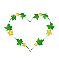 Vine Flowers and Leaves in Beautiful Heart Shape vector image