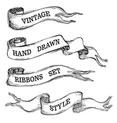 Vintage banner ribbons isolated on white vector