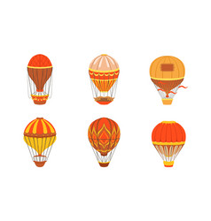 vintage colorful hot air balloons set retro air vector image