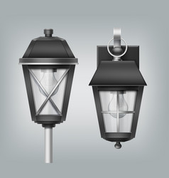 vintage lantern on pole and vector image
